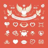 Valentines Day or Wedding Vintage Objects Vector and symbols Set. Hearts, Love Labels, Arrow, flowers, ribbons and Icons. Vector design elements Royalty Free Stock Photo