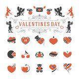Valentines Day or Wedding Vintage Objects Vector and symbols Set. Hearts, Love Labels, Arrow, flowers, ribbons and Icons. Vector design elements Royalty Free Stock Photos