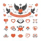 Valentines Day or Wedding Vintage Objects Vector and symbols Set. Hearts, Love Labels, Arrow, flowers, ribbons and Icons. Vector design elements Stock Photo