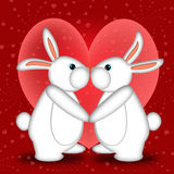 Valentines Day White Bunny Rabbits Kissing. Valentines Day or New Year White Bunny Rabbits Kissing with Hearts Illustration Stock Photos