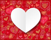 Valentines day white paper on hand drawing heart shape backgroun Royalty Free Stock Images