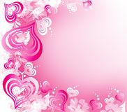 Valentines Day white-pink background with Hearts stock illustration