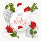 Valentines Day card with pink roses. Valentines Day white round banner with pink photo realistic roses, petals, hearts, gifts with bows and hand written font Royalty Free Stock Photos