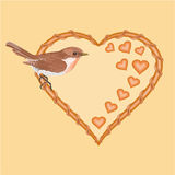Valentines day wicker heart and  bird vector Stock Photography