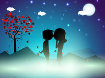 Valentines Day winter night background. With love tree and cute couples silhouette. EPS 10 Royalty Free Stock Image
