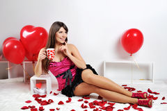 Valentines day woman Stock Photo
