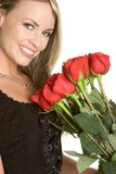 Valentines Day Woman. Beautiful valentines day roses woman Stock Photo