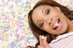 Valentines Day Woman. Candy hearts valentines day woman Stock Photos