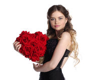 Valentines day woman with big flower heart. Royalty Free Stock Images