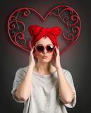 Valentines day woman with heart. Background Royalty Free Stock Photos