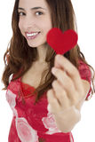 Valentines day woman with a heart Royalty Free Stock Image