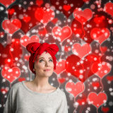 Valentines day woman with hearts. Valentines day woman with heart background Stock Photography