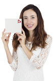 Valentines day woman holding a card with copy space Stock Photos