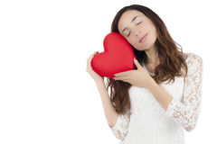 Valentines day woman holding a heart Stock Photography