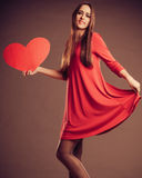 Valentines Day woman holding heart. Royalty Free Stock Photo