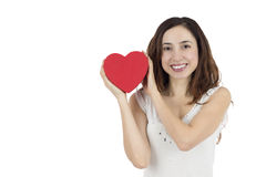 Valentines day woman holding a heart and smiling Stock Photos