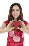 Valentines day woman holding a red heart Royalty Free Stock Image