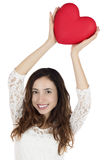 Valentines day woman showing a heart Royalty Free Stock Photography