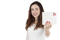 Valentines day woman showing love letter. Valentines day woman showing card with copy space Stock Photography