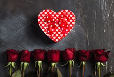 Valentines day womens mothers day red rose gift box heart shape surprise Royalty Free Stock Photography
