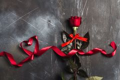 Valentines day womens mothers day red rose with ribbon heart gift surprise Stock Photo