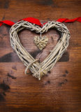 Valentines day wood heart and ribbon Stock Photography