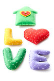 Valentines Day. Word Love dots, Heart Handmade. Vintage style. Love concept on white background Royalty Free Stock Photo