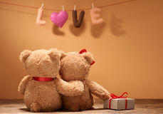 Valentines Day.Word Love heart.Couple Teddy Bears Royalty Free Stock Photos