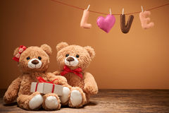 Valentines Day.Word Love heart.Couple Teddy Bears Royalty Free Stock Photo