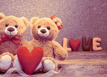 Valentines Day.Word Love heart.Couple Teddy Bears Stock Photography