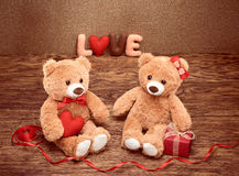 Valentines Day.Word Love heart.Couple Teddy Bears Stock Images