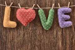 Valentines Day. Word Love, Heart Handmade. Vintage style. Love concept. Royalty Free Stock Images