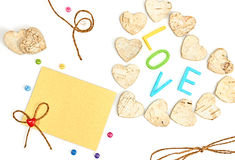 Valentines day. Word Love and Hearts made of bark Royalty Free Stock Photo