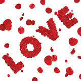 Valentines Day Word LOVE Made of Red Roses Stock Photo