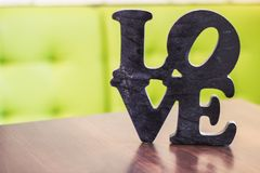 Word love wood table stock photos