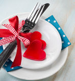 Valentines days table place setting Stock Images
