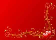 Valentines decoration. Vector abstract valentines background of two hearts with floral elements Royalty Free Stock Images