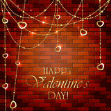 Valentines decorations on brick wall Stock Images