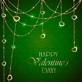 Valentines decorations on green background Stock Images