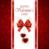 Valentines decorations with hearts and bow Royalty Free Stock Image