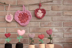 Valentines decorations hearts and flower hearts Stock Photography