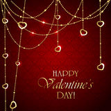Valentines decorations on red background Royalty Free Stock Photography