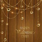Valentines decorations on a wooden background Stock Image