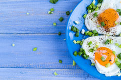 Valentines delicious breakfast fried eggs hearts Royalty Free Stock Images