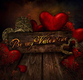 Valentines design - Hearts on wood Royalty Free Stock Photo