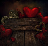 Valentines design - Hearts on wood Stock Photo