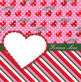 Valentines Design Template with hearts, polka dot  Stock Photography
