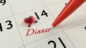 Valentines dinner appointment calendar with hearts Royalty Free Stock Photo