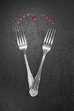 Valentines dinner. Table setting in romantic  style with cutlery Royalty Free Stock Images