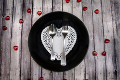 Valentines dinner on wood table Royalty Free Stock Photography